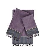 Sherry Kline Silk Strie Lavender 3Piece Embellished Towel Set Silk Strie... - $65.89