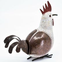 Handmade Serpentine Stone Recycled Metal Rooster Chicken Bird Sculpture Zimbabwe image 4