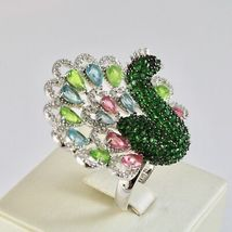 925 Silver Ring Rhodium and Burnished with Zircon Cubic Shaped Peacock image 3