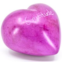 """Vaneal Group Hand Carved Soapstone 2-Sided """"Gratitude"""" Fuchsia Heart Paperweight image 4"""