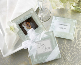 96 Sets of 2 Good Wishes Glass Photo Coaster Bridal Wedding Favors in Gi... - $165.25