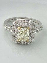 18K White Gold Light Fancy Yellow Radiant Cushion Cut Diamonds Ring 1.61... - $5,096.00