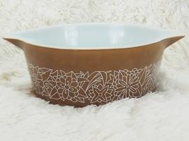 Vintage Pyrex Woodland Brown 475B Casserole Bowl Dish NO Lid 2 1/2 Qt  Floral - $38.61