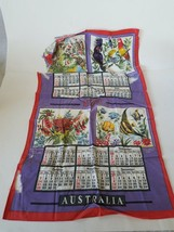 Linen Towel 1973 Collectible Calendar Australian Animals Birds Flowers &... - $6.78
