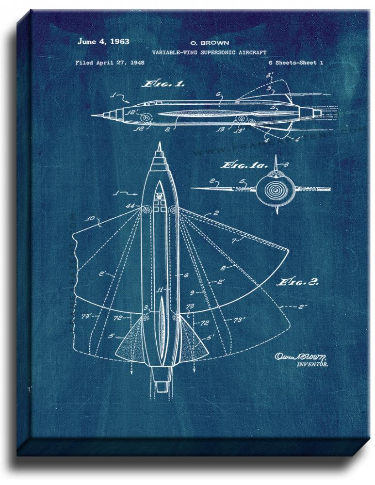 Primary image for Variable-wing Supersonic Aircraft Patent Print Midnight Blue on Canvas