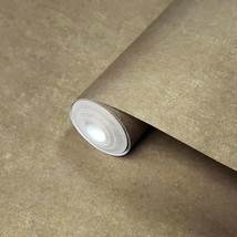 Modern Wallpaper Brown Gold Metallic Plain non-woven wall coverings doub... - $3.50+