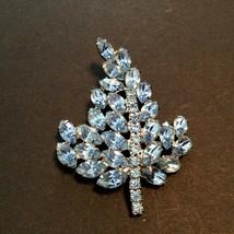 Vintage Light Blue Marquis Rhinestone Silvertone Leaf  Brooch  - $10.84