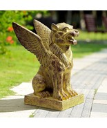 Winged Lion Griffin Outdoor Garden Resin Statue Sculpture,18'' x 23.5''H - $260.00