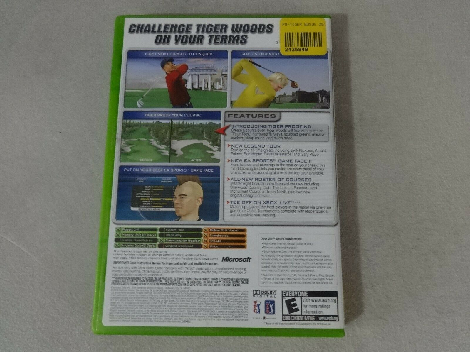 Tiger Woods PGA 2005 Original Microsoft Xbox Game Complete Free Ship