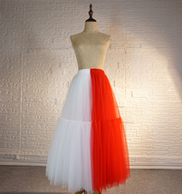 Red White Long Tulle Skirt Outfit Contrast Color Tutu Skirt Plus Size High Waist image 8