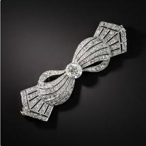 Unisex 925 sterling silver Floral Motif Diamond Accent luxury Bow brooch... - $139.00