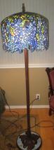 Meyda Wysteria Wisteria Tree Trunk Floor Lamp 1802FLR Colorful Blue Shade - £437.01 GBP