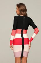 Celebrity Style Long Sleeve Sexy Pink & Black Striped Deep V Cocktail Party Dres image 3