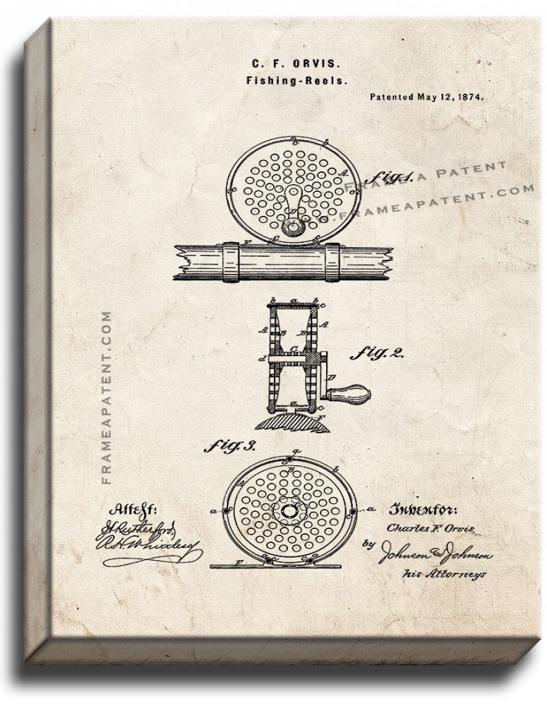 Primary image for Fishing Reel Patent Print Old Look on Canvas