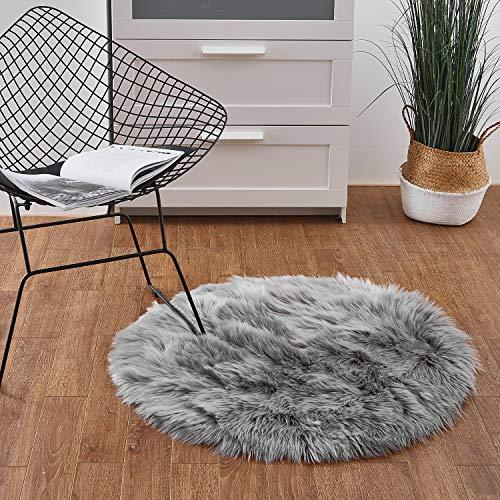 Ashler Faux Fur Grey Round Area Rug Indoor Ultra Soft