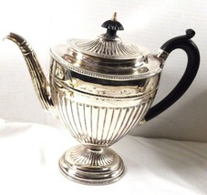 Silver plated ribbed black handle & lid tip coffee pot Art Deco Style - $63.11
