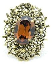 VTG Gold Tone Floral Filigree Topaz Glass Rhinestone Flower Pin Brooch P... - $29.70