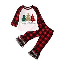 Christmas Outfits Toddler Baby Kids Girl Xmas Tree (1-2 Years|Merry Chri... - $17.51