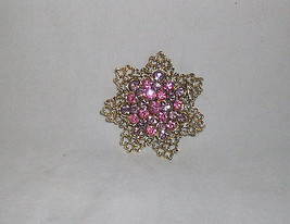 Pin Brooch Pink Purple Rhinestones Domed Flower Lacy Goldtone Metal Unique - $14.99