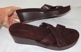 Nine West Platform Wedge Brown Leather Slides Sandals Shoes Womens 8.5 - $6.92