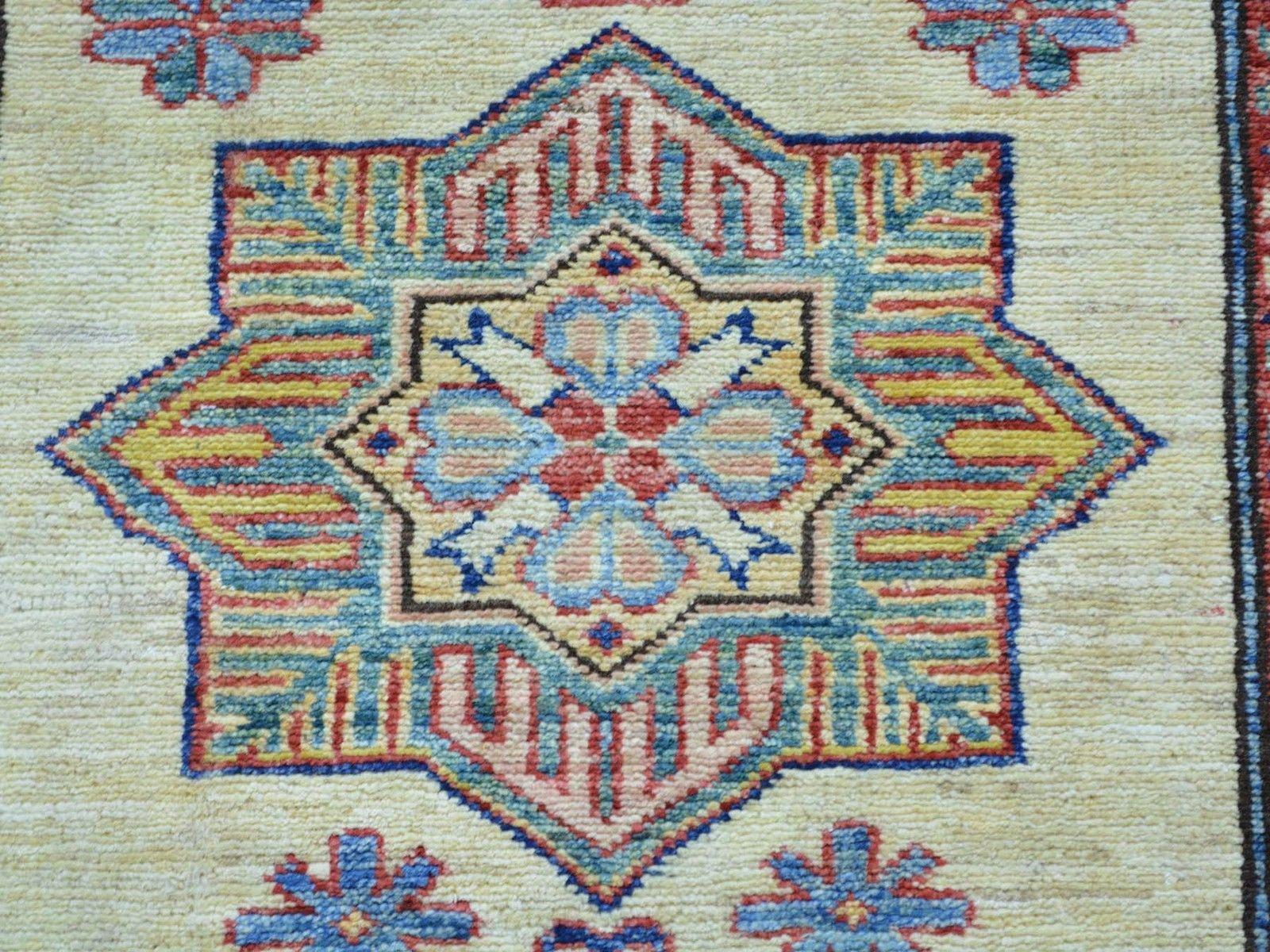 "2'9""x7'10"" Geometric Design Hand Knotted Runner Super Kazak Oriental Rug G25767"