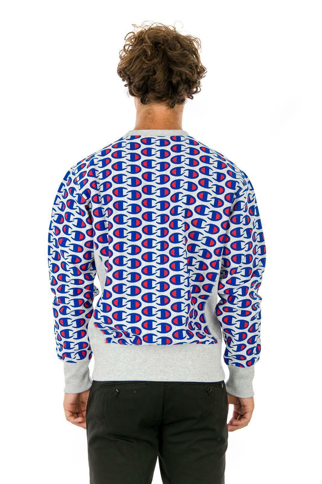 Sale Sweatshirt Champion 212429 Reverse Weave Man Round Neck Grey Blue Fleece Wi image 3