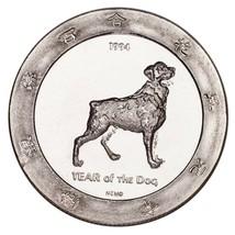 1994 Año de el Perro Plata .999 1 Onzas Gaming Redondo Alcachofa Joe's C... - $49.24
