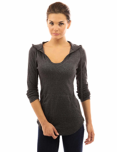 Women's Hoodie Size Medium (M) Curve Hem Tunic Top Dark Heather Grey - $14.54