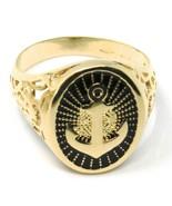 Gold Ring 750 18K, Yellow, Anchor Marinara, Perforated, Enamel Black, Men's - $1,355.49