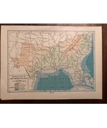 """Vintage Color US THE SOUTH SOUTHERN STATES Print Plate 6.5"""" x 9"""" Unframed - $14.00"""