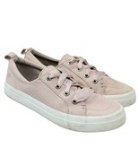 SPERRY Crest Vibe Pink Rose Dust Canvas Satin Lace Up Sneakers Boat Shoes 7 - $24.50