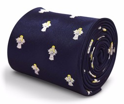 Navy Mens Tie with Angel Design by Frederick Thomas FT3313