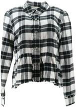 Rachel Hollis Ltd Button Front Flannel Peplum Top BlackWhitePlaid 16 NEW... - $52.45