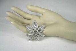 Crown Trifari Pin Brooch Silver Tone Signed Leaf Sz 1.75 In VTG Costume ... - $19.79
