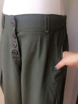 Women Army Green Wide Leg Pants Long Linen Pants Trousers Summer Harem Pants  image 4