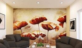 Red & Gold Peonies Wall Mural,Removable Wallpaper just Peel and Stick Wa... - $69.00+