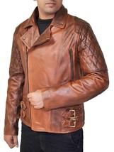 Classic Brando Lambskin Vintage Distressed Brown Leather Biker Jacket image 2