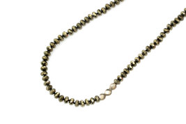 Pyrite necklace,gemstone necklace,beaded necklace,silver necklace - $84.00+