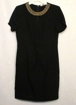 Forever 21 Contemporary Sheath Dress M Medium Black Gold Embellished Cut... - $5.24