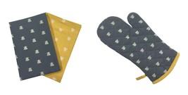 Biene Silhouetten Grau Gelb Einzelner Ofen-Handschuh & 2 Stück Küche - $29.52