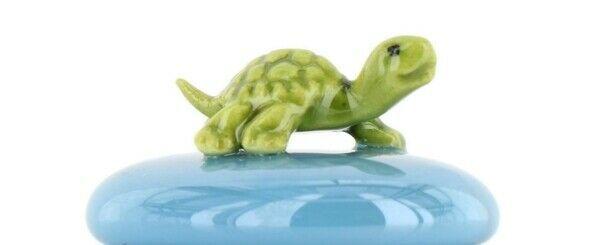 Stepping Stones Fairy Garden Terrarium Miniature Turtle Baby on Turquoise