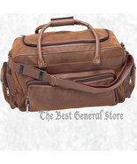 """24"""" Brown Faux Leather Tote Bag Duffle Gym Luggage Carry-On with Shoulde... - $41.99"""