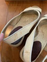 Christian Louboutin Espadrille US 7 Wedgesole Open Toe Sandals Fabric Rare USED image 4