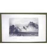 SWITZERLAND Falls of the Rhine at Schaffhausen - 1840s Antique Print Eng... - $9.94