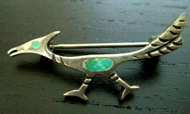Vintage tested sterling silver roadrunner bird Brooch pin turquoise inla... - $29.69
