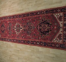 Tribal Inspired Olde Runner Persian Hand-Knotted 2' x 11' Red Heriz Wool Rug image 10