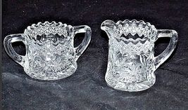 Cut Glass Floral Design Sugar and Creamer Set AA18 - 1180  Vintage Heavy image 4