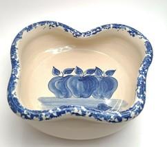 Paul Storie Pottery Marshall County Texas Cobalt Blue Apple Bowl - $34.54