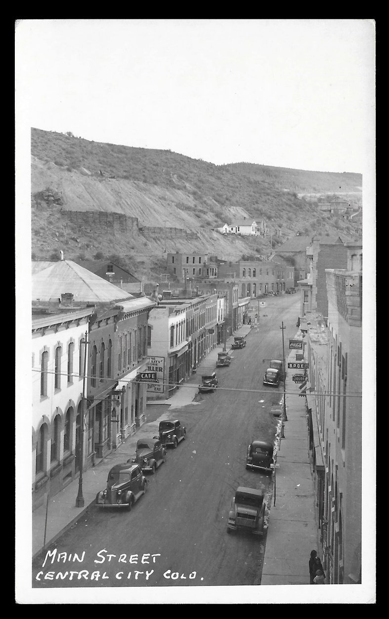 Central City Real Photo Postcard Colorado Main Street Storefronts Cars 1920s-30s