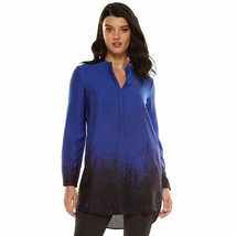 Nwt Elie Tahari Shirt Dress Blue Nyc Georgette Ombre - Women's Xs - $32.47